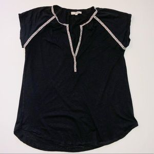 Madewell   Black Blouse with Embroidered Trim